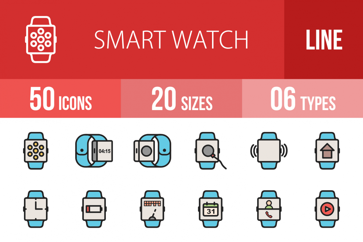 50 Smart Watch Linear Multicolor Icons example image 1