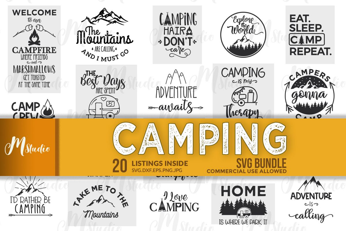 Camping SVG Bundle. example image 1