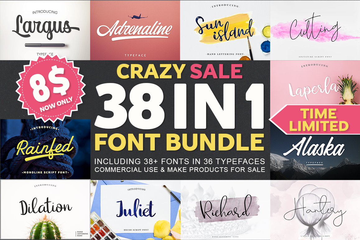 38 IN 1 Font Bundle BIG SALE! example image 1