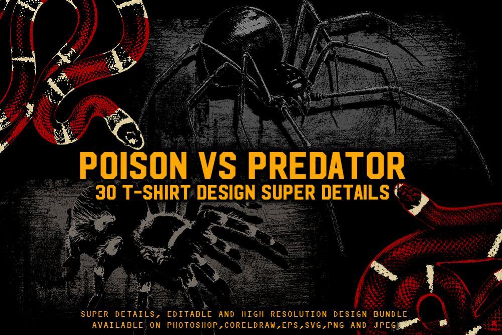 POISON VS PREDATOR 30 T-SHIRT DESIGN example image 1