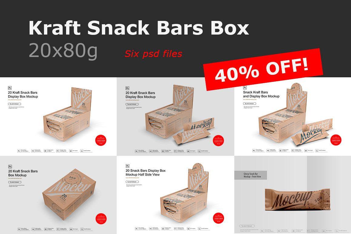 Kraft Snack Bars Box 20x80g Mockup example image 1
