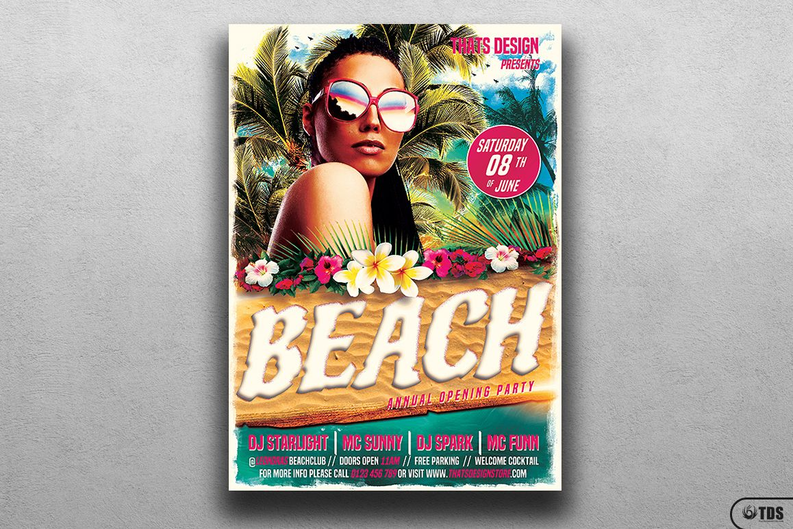 Beach Party Flyer Template V4 example image 1