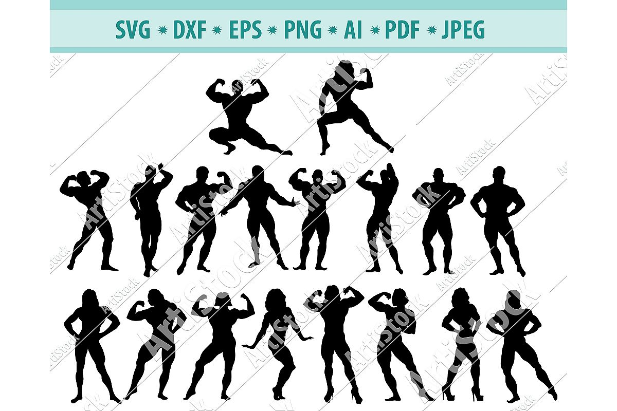 Bodybuilder svg, Muscular man svg,Fitness Svg, Dxf, Png, Eps example image 1