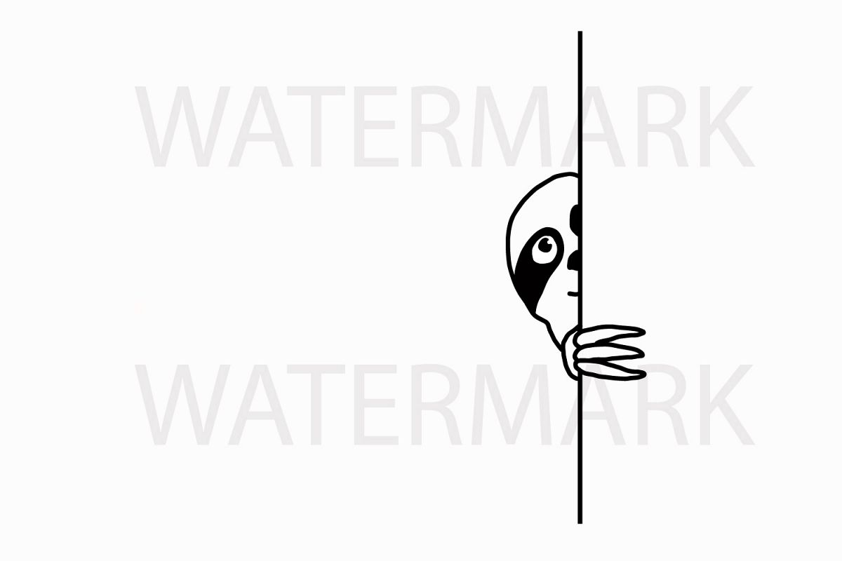 Sloth Hiding peeping at you - SVG/JPG/PNG Hand Drawing example image 1