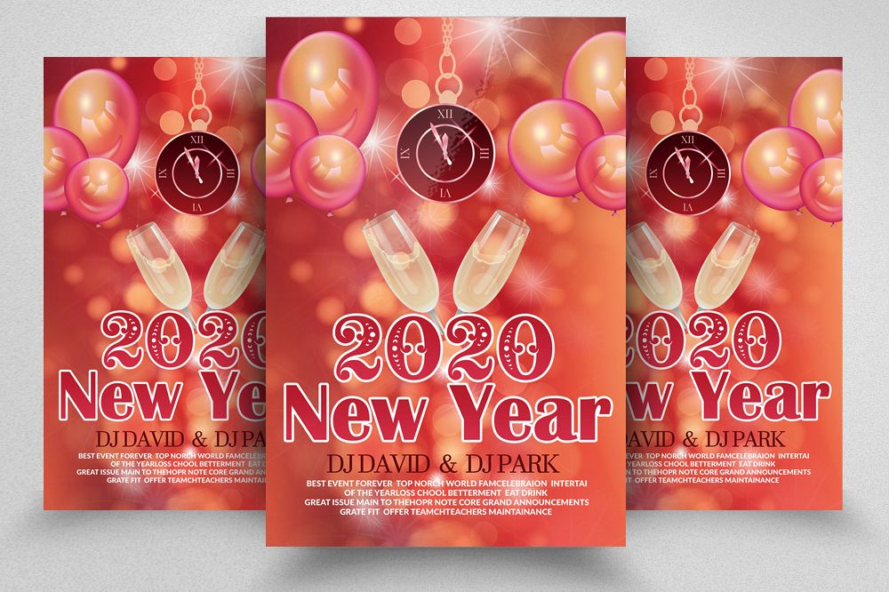 New Year Party Flyer Template example image 1