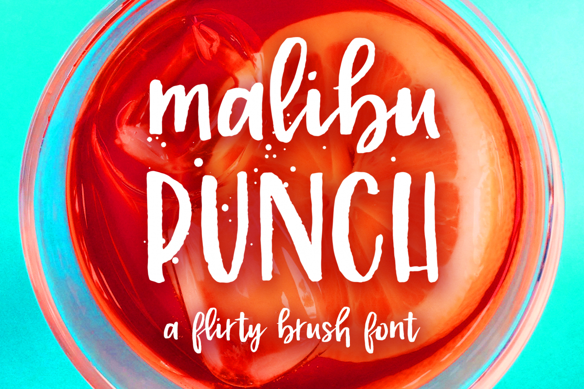 Malibu Punch, a textured brush font example image 1
