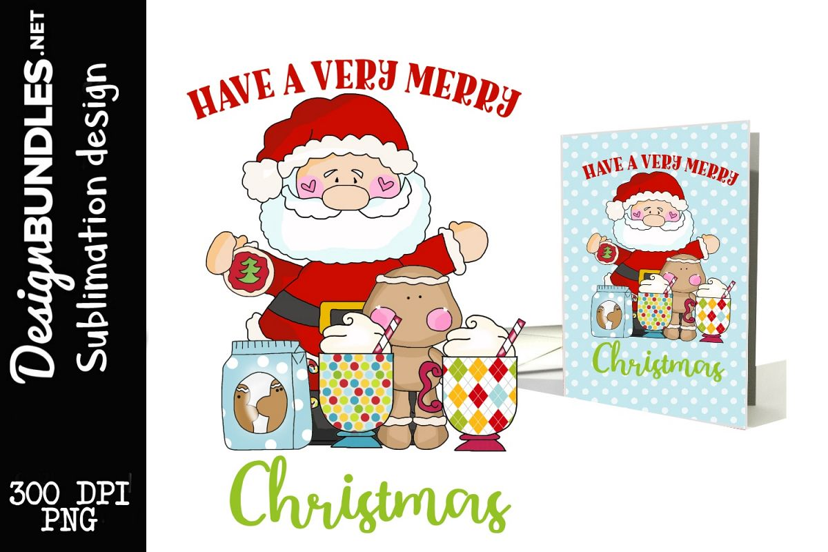 Very Merry Christmas Sublimation Design example image 1