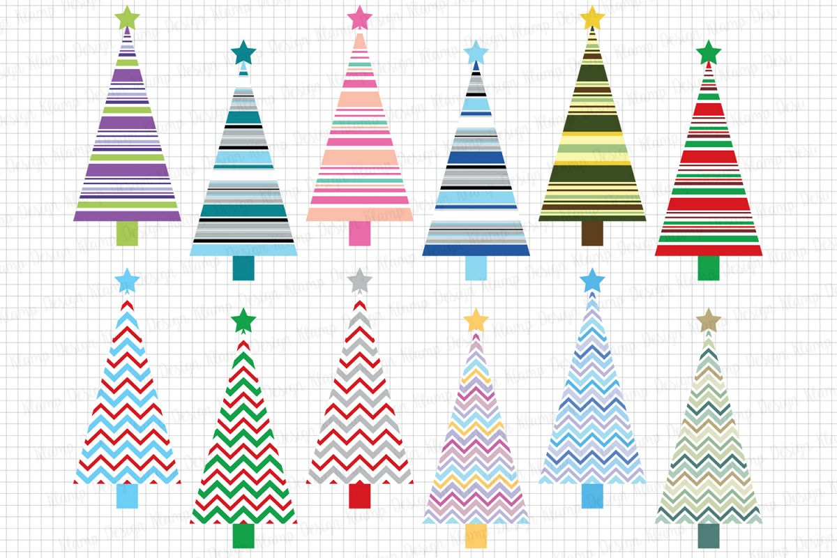 Christmas Trees Clipart / Christmas graphic and illustrations / Christmas trees / Scrapbooking / Card Makig example image 1
