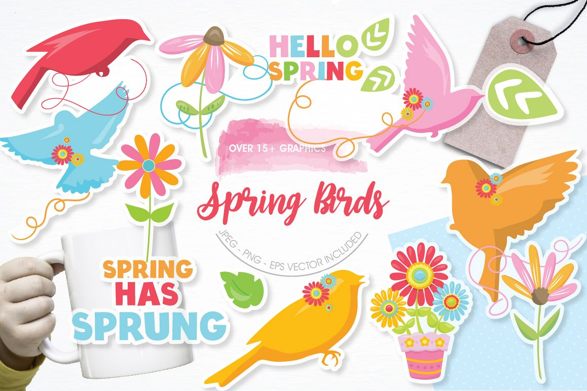 Spring Birds graphics and illustrations example image 1