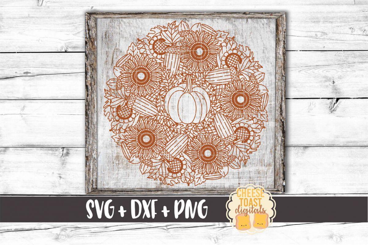 Pumpkin Sunflower Mandala - Fall Mandala SVG PNG DXF Files example image 1