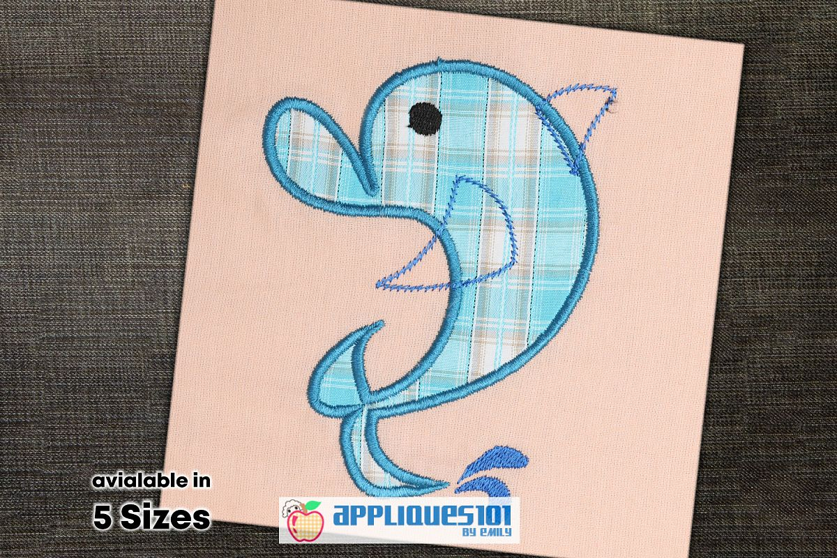 Cartoon Dolphin Machine Embroidery Applique Design- Dolphins example image 1