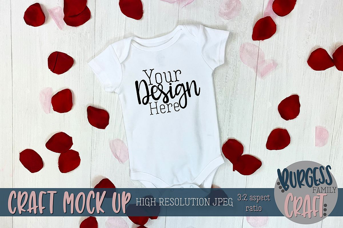 Valentine white baby bodysuit II Craft mock up example image 1