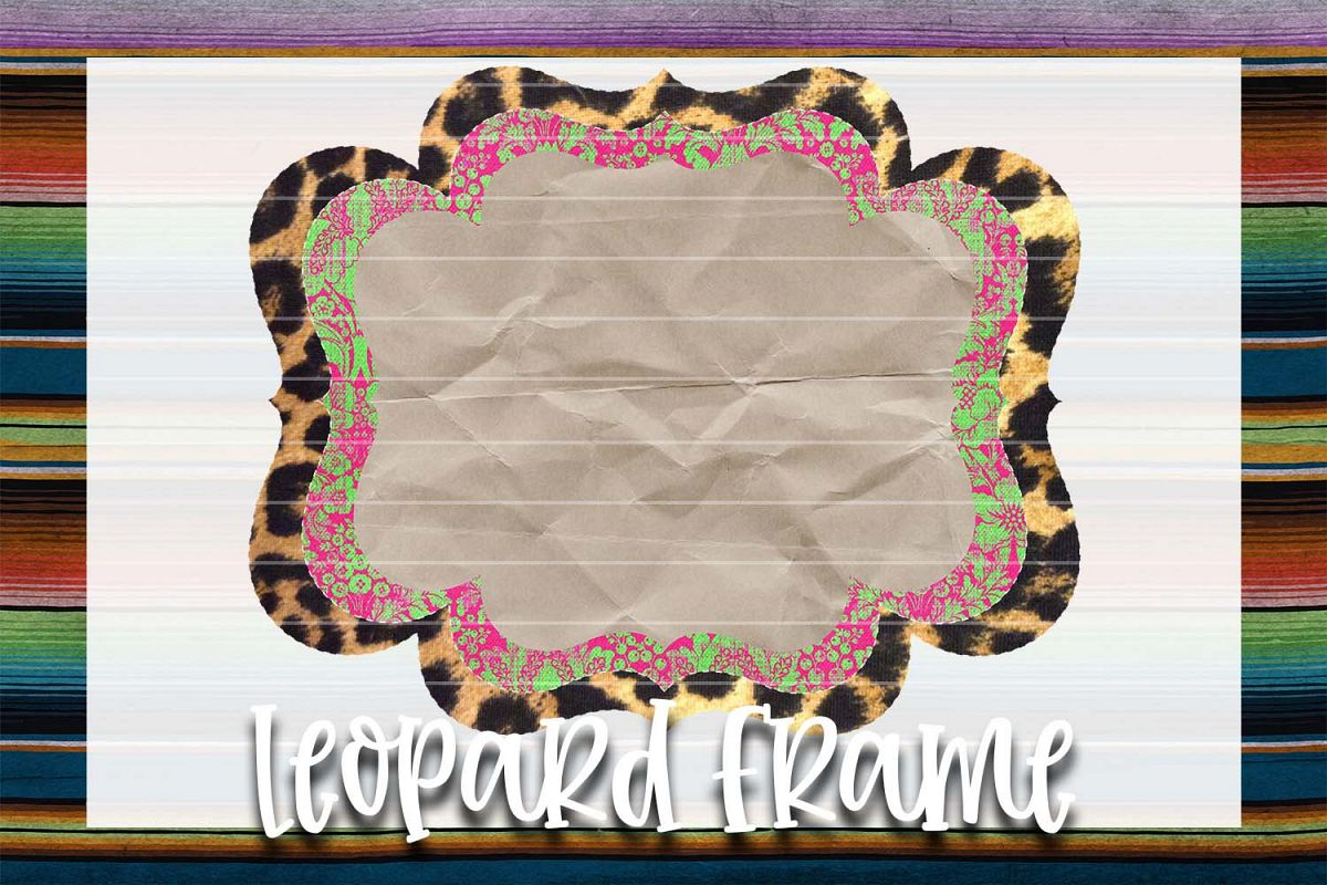 Pink & Green Demask Leopard Frame Background Element example image 1