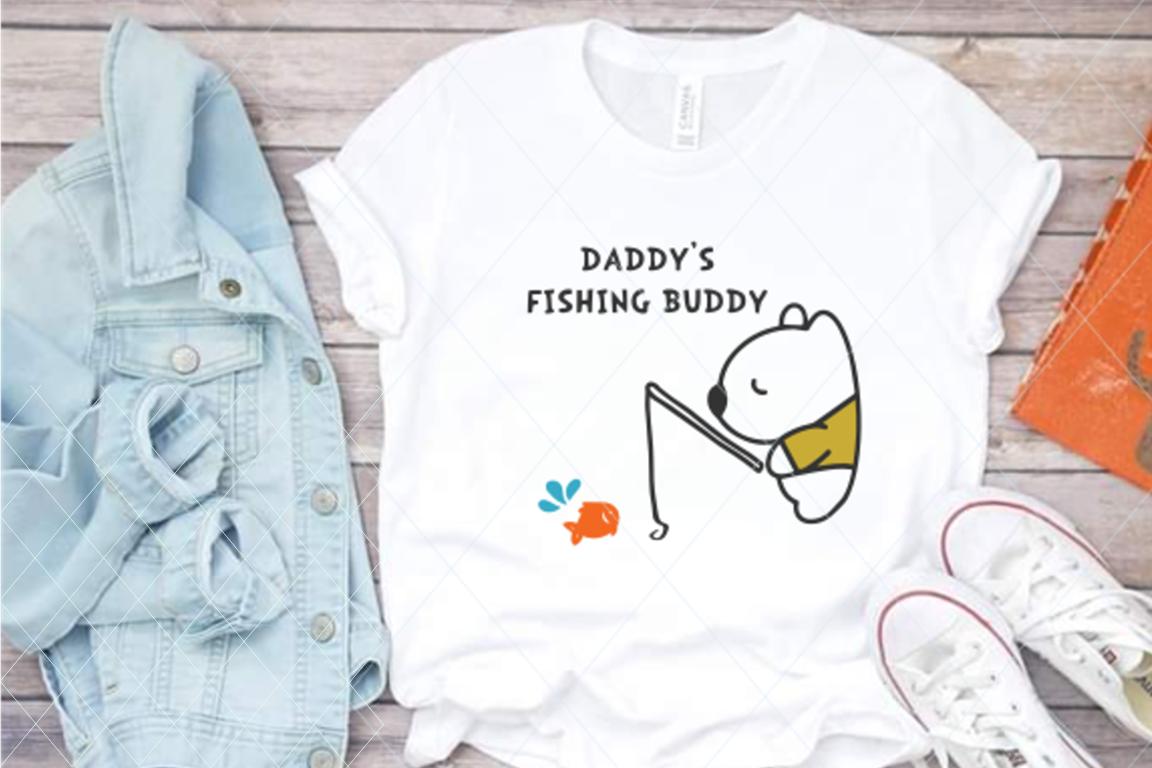 Daddy's fishing buddy, fishing cut file, daddy svg, hobby example image 1