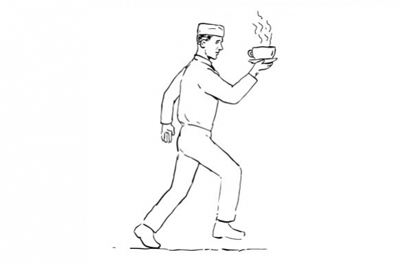 Retro Waiter Running Serving Coffee Drawing example image 1