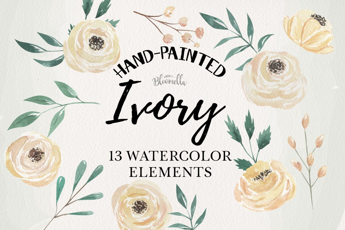 Ivory Watercolor Flowers 13 Elements Florals Leaves Cream example image 1
