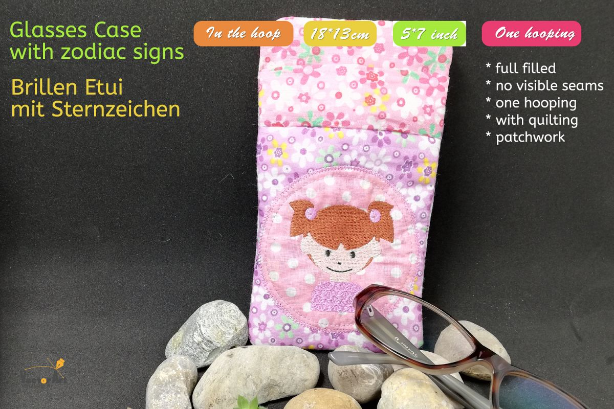 ITH - Glasses Case with Zodiac sign Virgo - Embroidery file example image 1