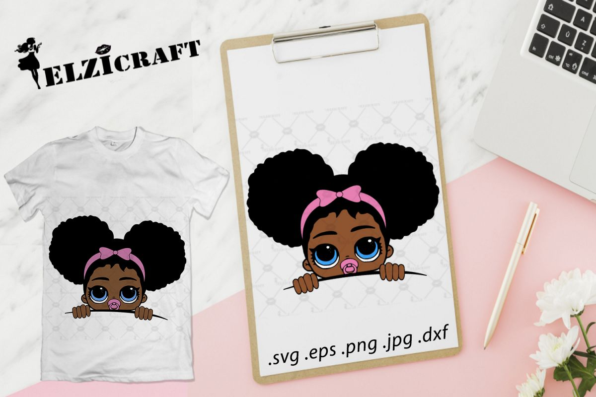 dcc7c66fc Afro Peeking Baby SVG Cut File example image 1
