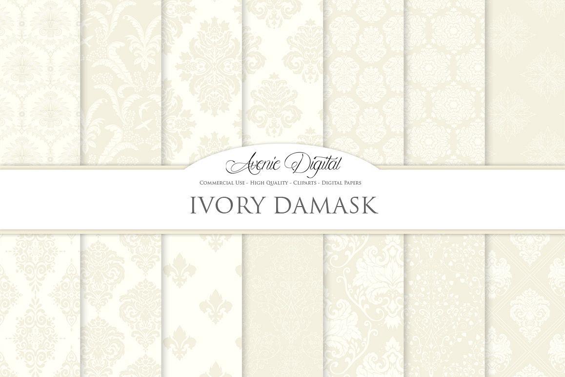 28 Ivory Damask Patterns - Wedding Seamless Digital Papers Bundle example image 1