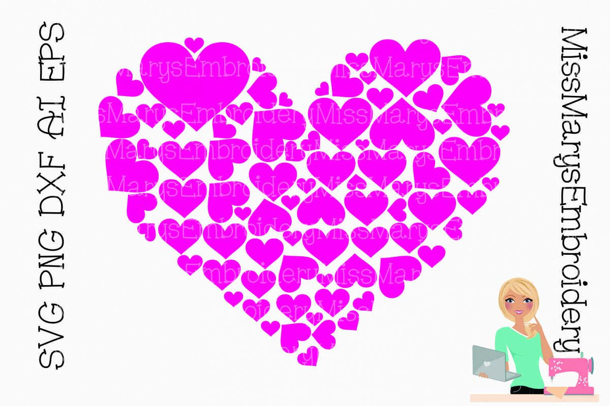 Heart Full of Hearts SVG Cutting File PNG DXF AI EPS example image 1