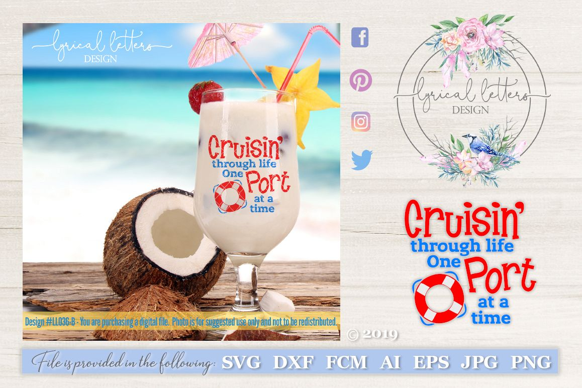 Cruisin' Through Life One Port At A Time SVG DXF LL036B example image 1