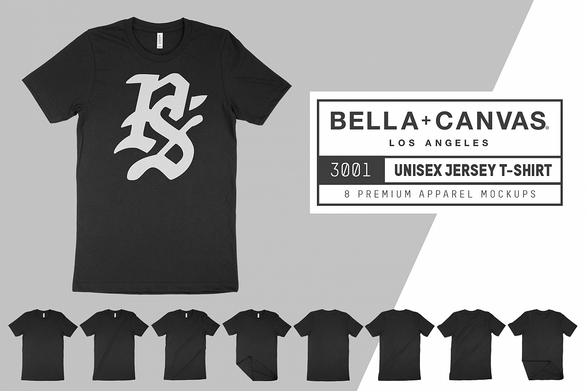 Bella Canvas 3001 Unisex Jersey T-Shirt Mockup Set example image 1
