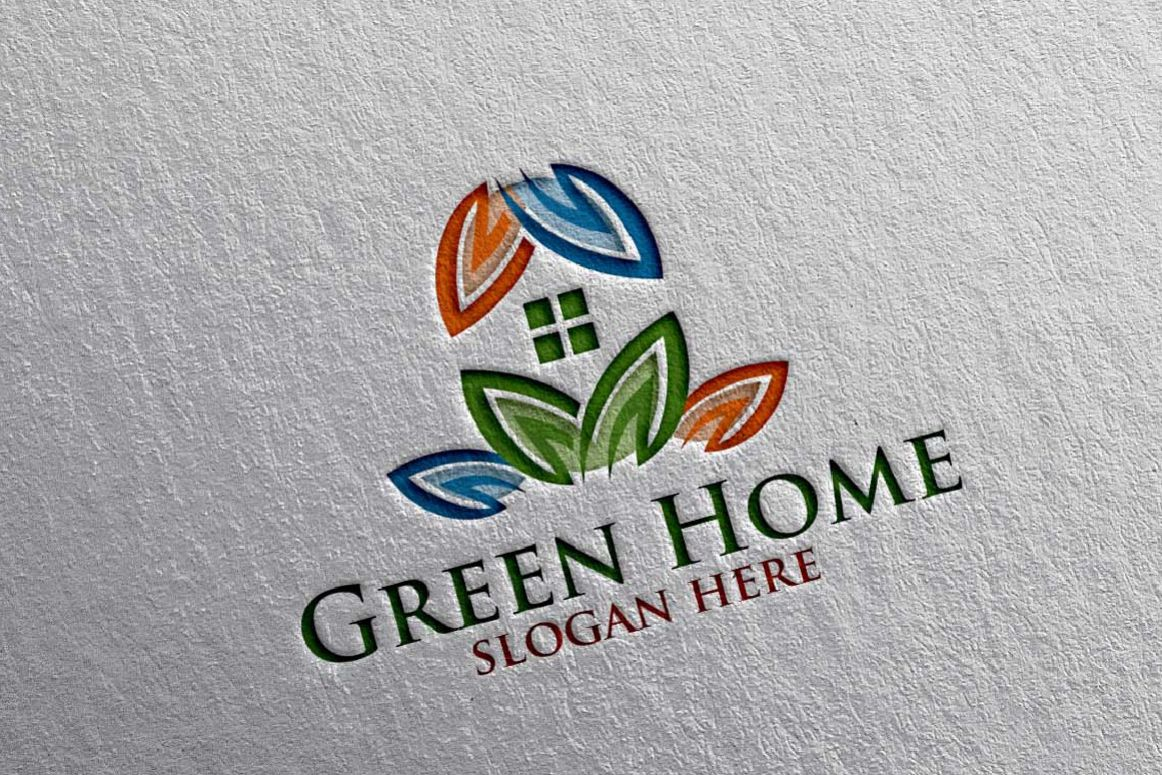 Real estate Logo, Green Home Logo 16 example image 1