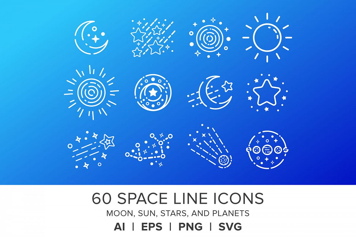 Space Line Icons Set example image 1