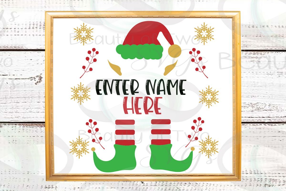 Christmas Elf first or last name customizable svg, Christmas example image 1