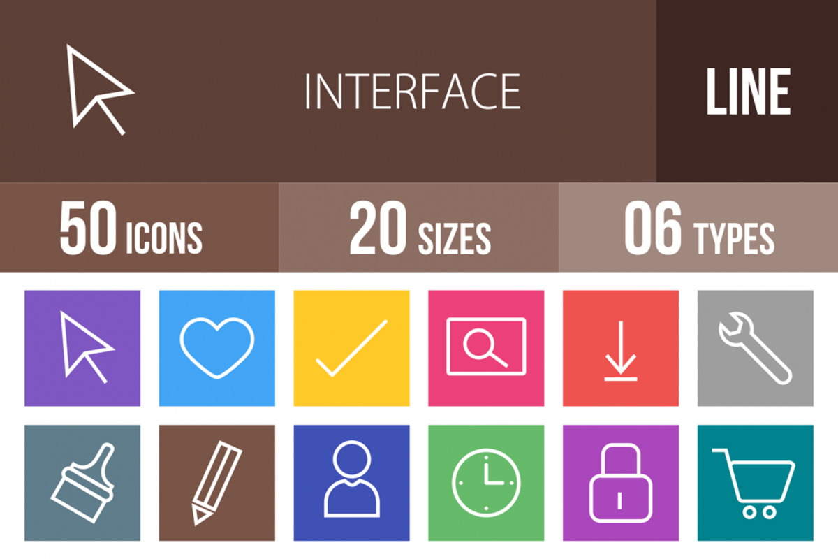 50 Interface Line Multicolor B/G Icons example image 1