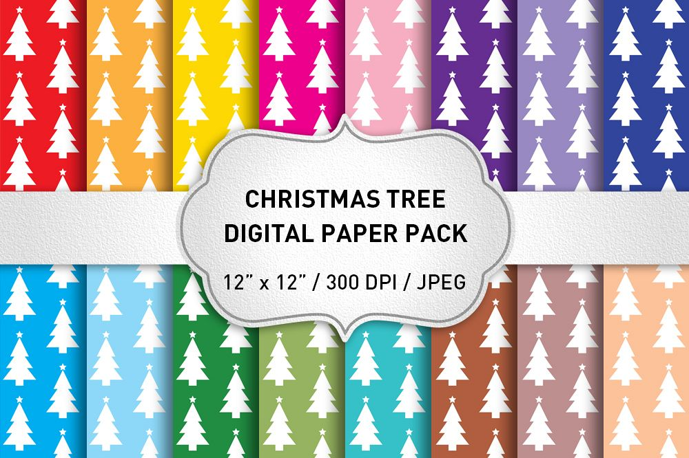 Christmas Digital Paper Pack / Christmas Tree Backgrounds / Scrapbooking / Patterns / Printables / Card Making example image 1