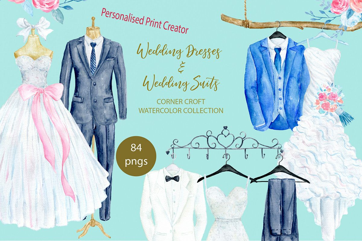 Watercolor wedding outfit on hangers and cloth hooks example image 1