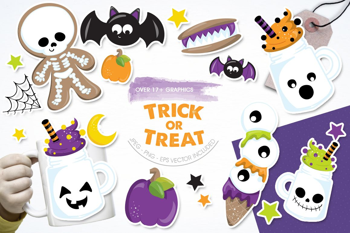 Trick or treat graphic and illustrations example image 1
