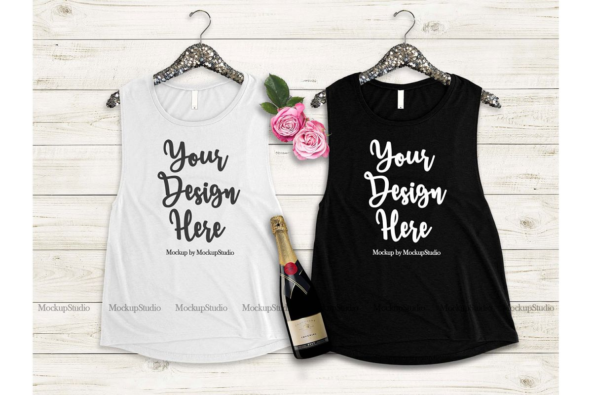 Matching Tank Top Mockup, Bride Bridesmaid Bachelorette example image 1