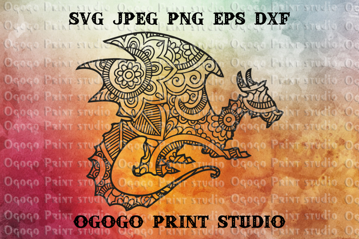 Mandala style Dragon SVG, Zentangle SVG, Pet svg example image 1