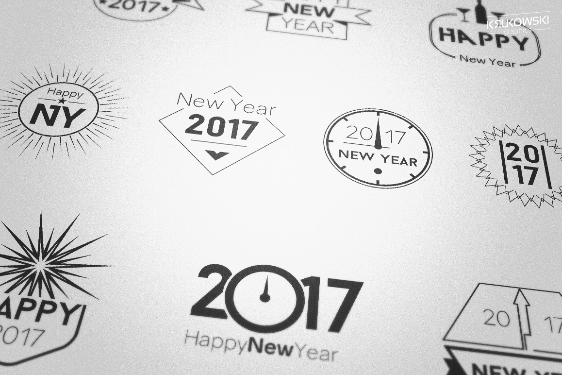 New Year 2017 Badges Logos example image 1