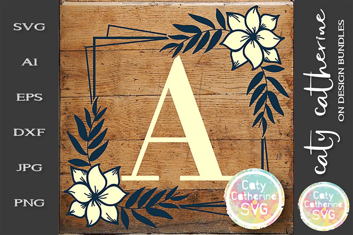Letter A Floral Monogram Frame SVG Cut File example image 1