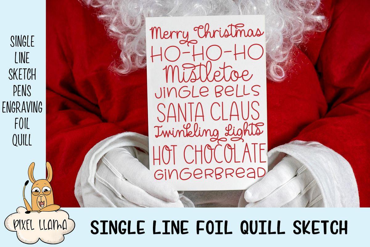 Christmas Card Word Art Single Line Sketch - 2 Versions example image 1