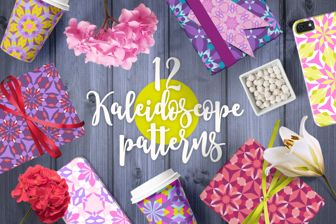 12 Kaleidoscope Seamless Patterns example image 1