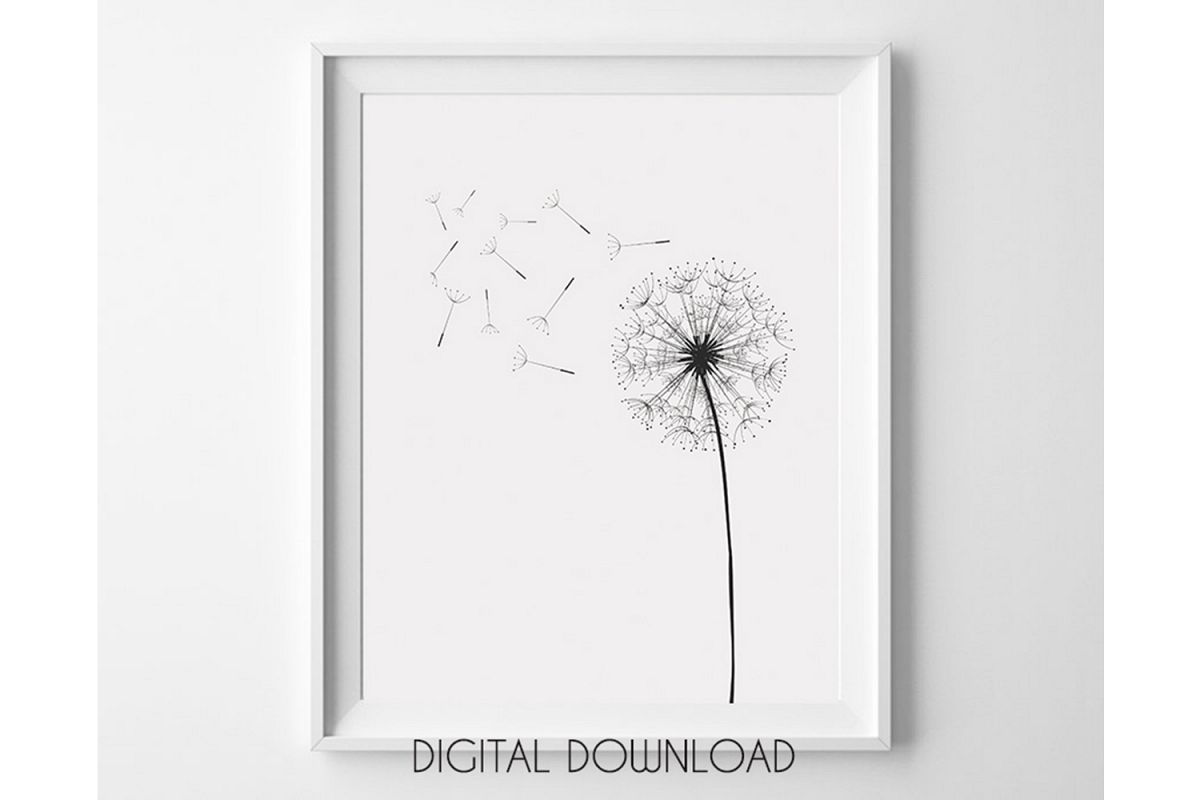 Dandelion Wall Art, Black and White Prints, Monochrome Print example image 1