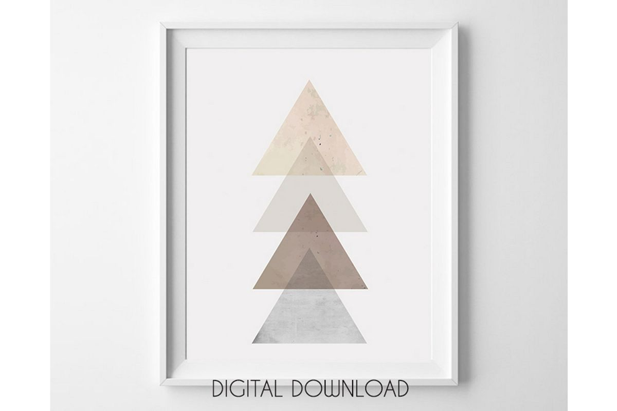 Triangle Wall Art, Rose Gold Geometric Decor, Scandinavian example image 1