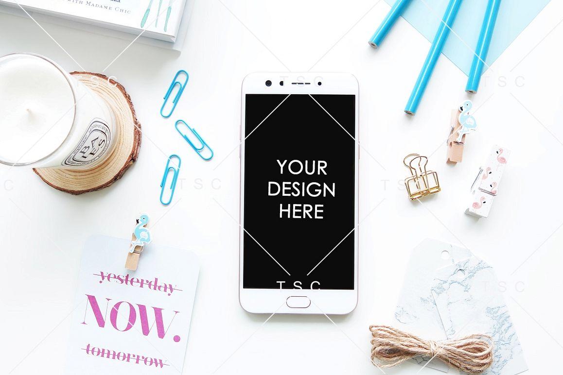 Phone Mockup on a White Desk example image 1