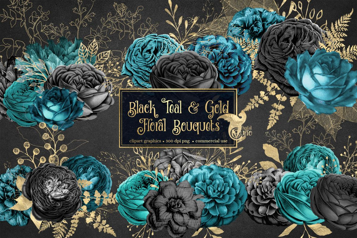 Black Teal and Gold Floral Clipart example image 1