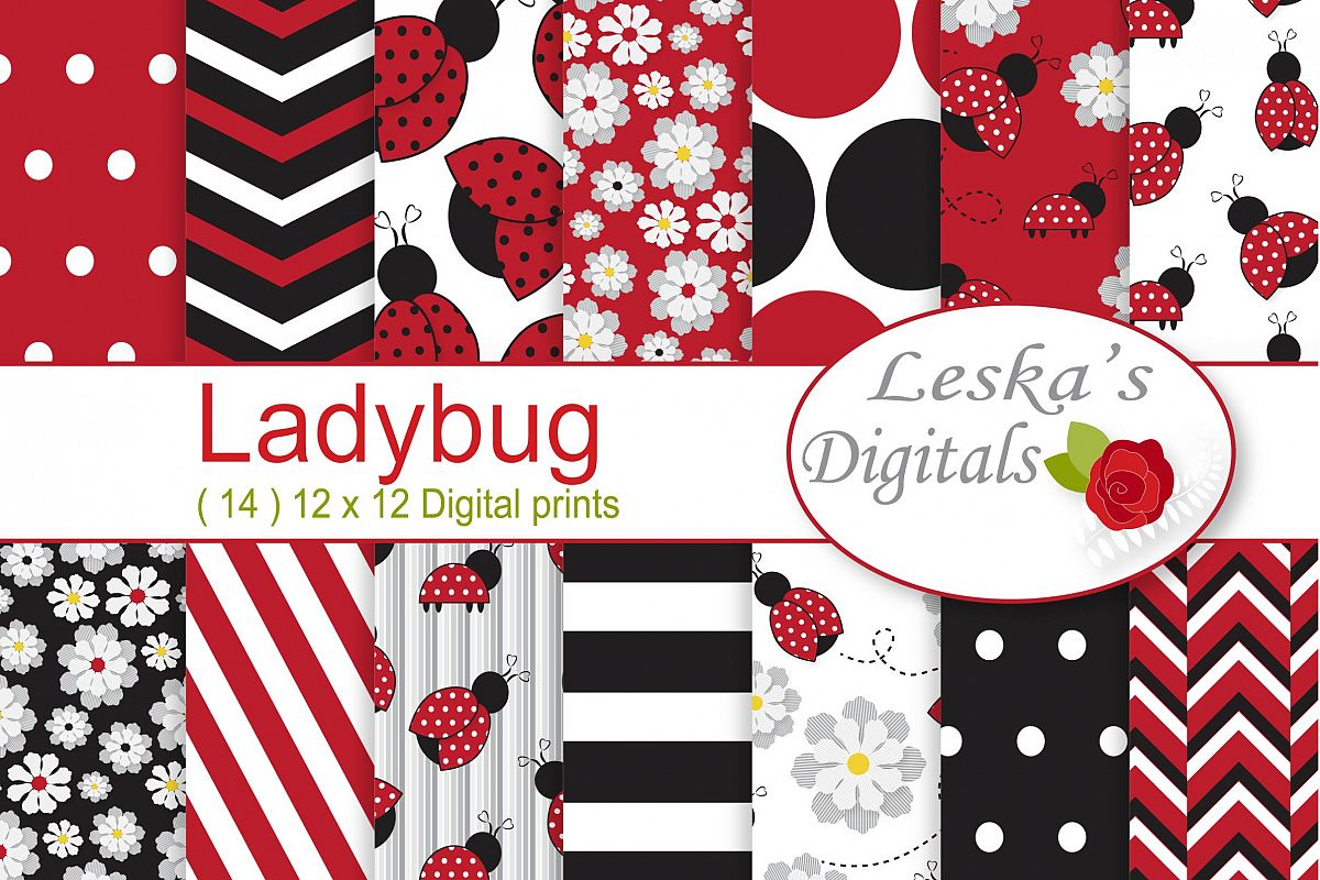 Ladybug  Digital Paper Pack example image 1
