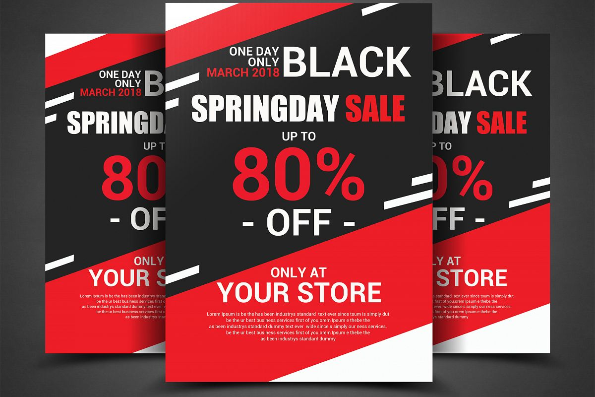 black spring sales flyer