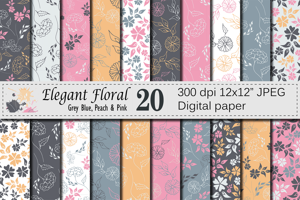 Seamless Elegant Floral Digital Paper with hand drawn flowers - Gray Blue Peach Pink example image 1