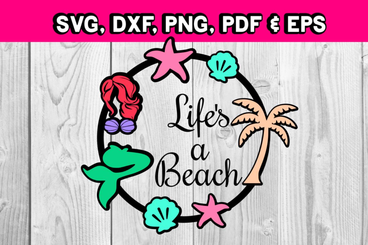Mermaid svg file - Life's a beach - palm tree - seashells example image 1