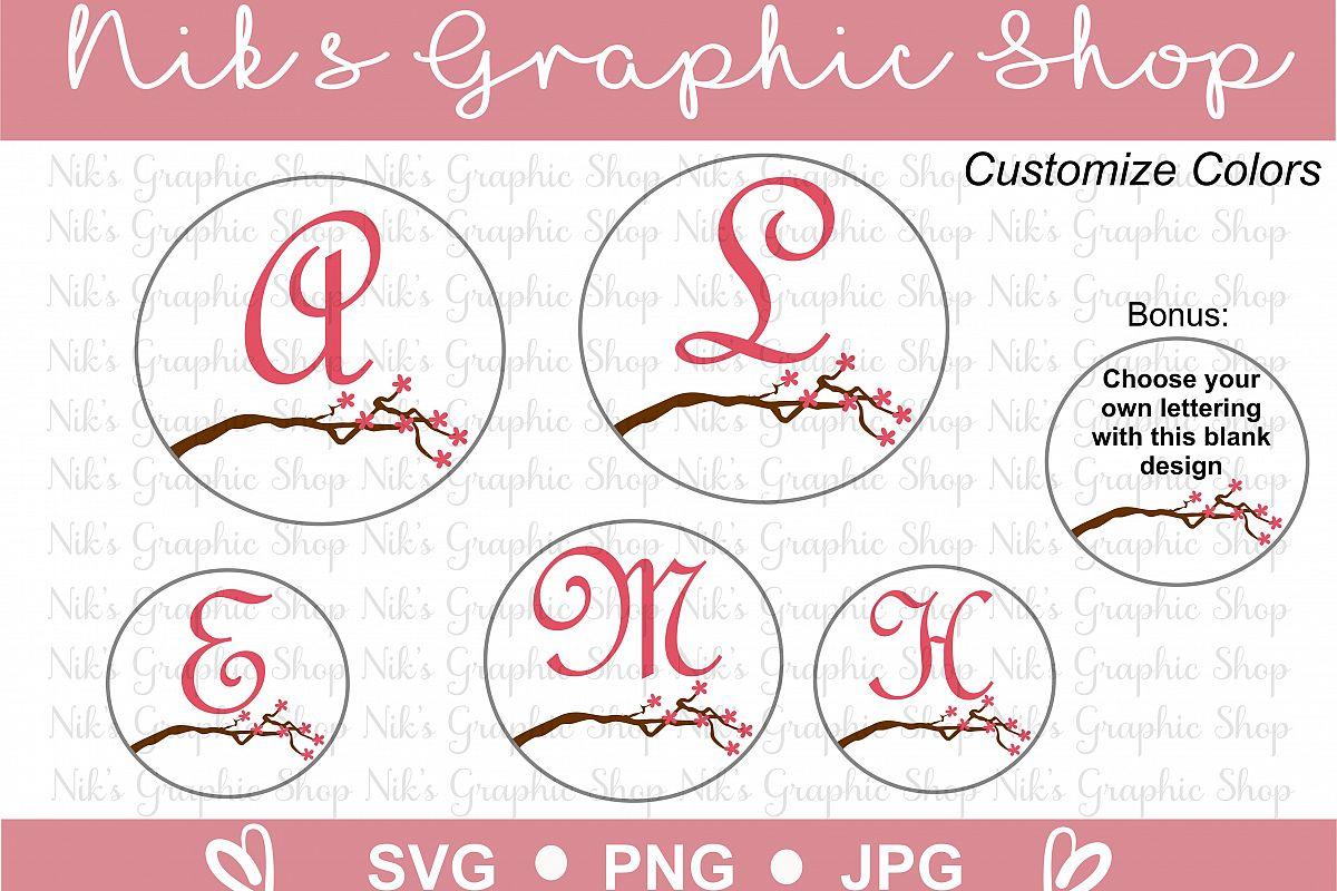 Monogram Svg, Cute Monogram, Cut files, Cherry Blossom Svg, Blossom Tree, Family Tree Svg, Tree Branch Svg, Monogram Cut Files, Family Svgs example image 1