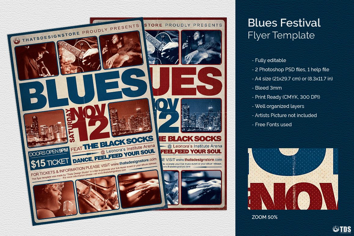 Blues Festival Flyer Template V2 example image 1