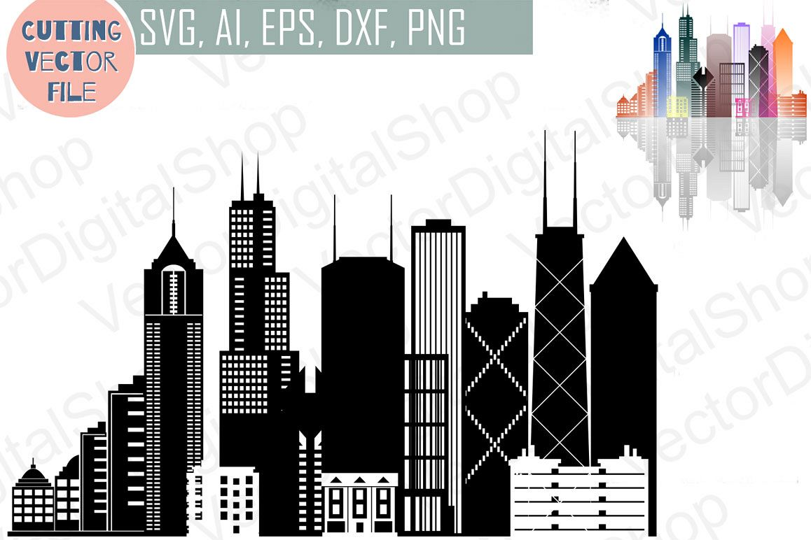 Chicago Vector,  Illinois Skyline USA city, SVG, JPG, PNG, DWG, CDR, EPS, AI example image 1